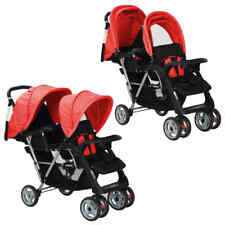 vidaXL Dubbele Kinderwagen Staal Rood en Zwart Wandelwagen Buggy Rode Zwarte