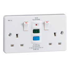 RCD9000 RCD TWIN SWITCHED SOCKET - LATCHING 30mA 13A SAFETY SOCKET IN WHITE