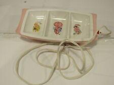 vtg General Electric baby food warmer dish bowl pink girl child works 1970's