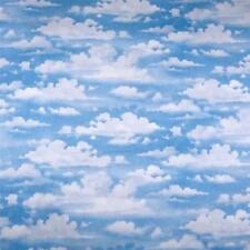 Fluffy White Clouds, Soft Blue Sky Naturescape, Landscape Cotton, Per 1/2 Yd