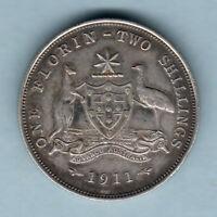 Australia.  1911 Florin - Full Centre Diamond.. VF/gVF - Part Lustre