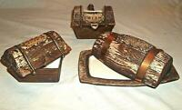 Vintage Treasure Craft Chest Pottery Cream Sugar Butter Dish Brown Barrel