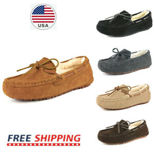 Women's Suede Faux Fur Lined Slip On Moccasin Slipper Loafer Shoes
