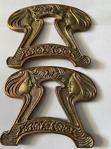Vintage Brass Book Holder Ends Only Art Nouveau Design #9759