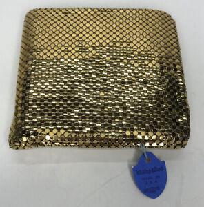 Whiting & David Gold Mesh Bi-Fold Wallet w Coin Purse Vintage Retro Original Tag