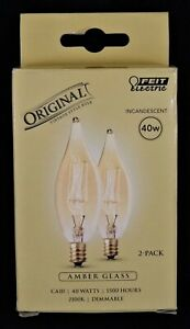 Feit Electric 40W Dimmable Incandescent Amber Glass CA10 Vintage Bulbs, 2 Pk