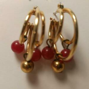 """Triple Gold Hoop Earrings Red Faceted and Gold Beaded 3/4"""""""