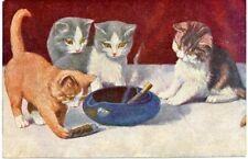 1920s Cat Art Kittens Cigar Cigarette Ashtray Smoking Russian postcard