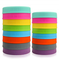 16Pk Colored Plastic Mason Jar Lids Fits Ball Kerr & More Food-Grade Storage Cap