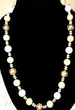 "/ Gold 28"" Fashion Necklace Vintage White / Faux Pearl"