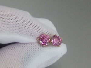 PINK DIAMOND MOISSANITE STUD EARRINGS GIFT 14K 14CT YELLOW GOLD EARRINGS