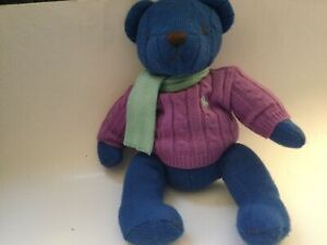 Ralph Loren polo Blue Bear Plush 2004 Knit Logo Purple Sweater Green Scarf
