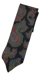 NWT - Drake's – Black Silk Tie w/Green & Red Paisley Print, Made in England