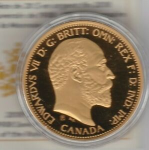 BOXED CANADA 2018 GOLD PLATED SILVER PROOF 1908 SOVEREIGN $20 WITH CERTIFICATE.