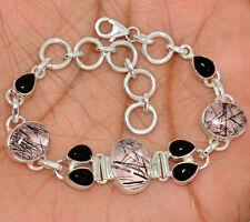 17g Solid 925 Sterling Silver Black Tourmaline In Quartz Onyx Bracelet SB16435