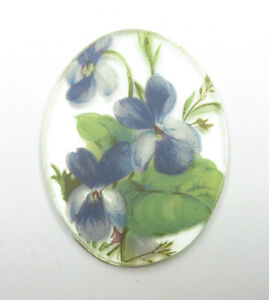 Vintage 40X30mm Glass Cameos Violet Flowers on Crystal Mirror Cabochons - Qty 1