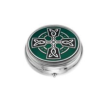 Large Pill Box Silver Plated Celtic Cross Head Black Brand New & Boxed