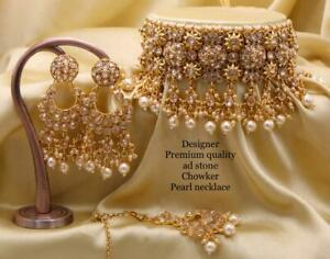 Indian Bollywood Style CZ AD Wedding Fashion Jewelry Choker Necklace Tikka Auuaa