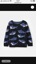 Joules Boys Branford All Over Pattern Jumper Navy Sharks Age 5 *BNWT* RRP £34.95