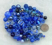 80g Royal Blue Mixed Bead Lot 6-18mm Crystals Pearls Silver Foil Glass