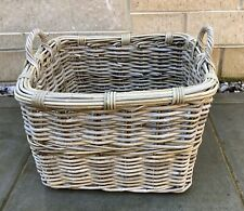 SHABBY CHIC LARGE RUSTIC CHUNKY WICKER BASKET FOR LOGS / TOYS / STORAGE