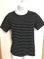 RALPH LAUREN WOMEN'S Black/WHITE STRIPED SHORT SLEEVE SHIRT CREW NECK SZ LARGE