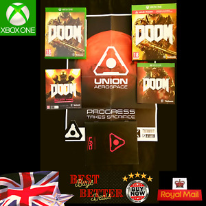 Xbox One DOOM Game UAC PACK with Poster Patches Game and Manuals VGC