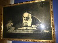 Charcoal Print Jewish Rabbi and Student