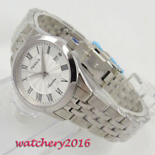 28mm Parnis white dial Sapphire Glass Roman Numeral Quartz movement Womens Watch
