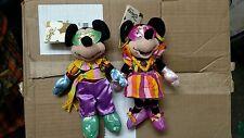 "Disney Mardi Gras Carnival Mickey and Minnie Mouse 8"" Plush"