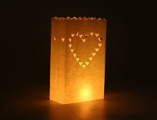 50 LED Battery Candles + 50 Hearts White Candle Bag Lantern Wedding Decoration