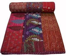 Vintage Kantha Quilt Indian Sari Throw. Bohemian Bedroom Decor Patchwork Quilt
