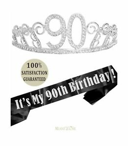 90th Birthday Tiara and Sash, Happy 90th Birthday Party Supplies,It's My 90th...