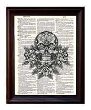 Day of the Dead Sugar Skull - Dictionary Art Print Printed On Authentic Vintage