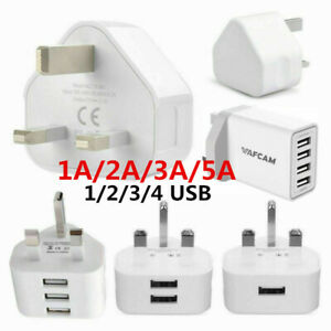 Stock UK Mains 3 Pin Plug Adapter Wall Charger 1/2/3/4-Port USB For Phone Tablet