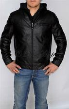 New Mens Kenneth Cole Faux Leather Jacket Coat Detachable Hooded Black XLarge XL