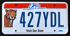 "OHIO "" WILDLIFE LEOPARD VISIT OUR ZOOS - AVIATION "" OH Specialty License Plate"