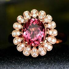 Natural Diamond Oval Pink Tourmaline 14K Rose Gold Cocktail Engagement Ring