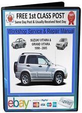 Suzuki VITARA Grand VITARA 1998 2005 Workshop Service Repair Manual CD