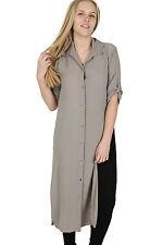 Ladies Plus Sizes Midi Shirt Split Side Collar Party Abaya Maxi Dress S - XXXXL Mocha XL (uk 16)
