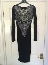 Lipsy Limited Black Devore Long Sleeve Dress (Size 6) ***NEW WITH TAGS**