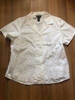 Denim & Co womens Size 1X White Short Sleeve Button Front Floral Embroidered