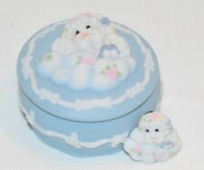 Dreamsicles Angel Baby Blue Ceramic Pocelain Trinket Box and Brooch pin