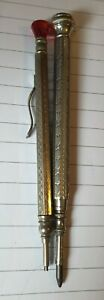 Two Vintage Clutch Pencils - Engine Turned - Glass Finials