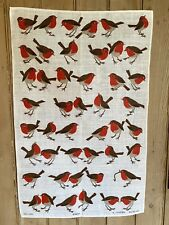 More details for vintage robins irish linen tea towel ulster unused christmas