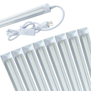 4FT 8 Pack LED Shop Light T8 Linkable Ceiling Fixture 24W Daylight 6000K Clear