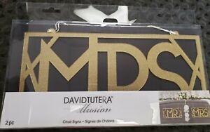 David Tutera Mr. & Mrs. Silver Wood Wedding Chair/Seat Reception Signs
