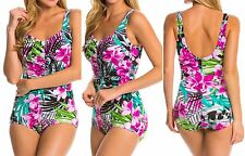 Maxine Tropic Dreams Shirred Front Girl Leg One Piece Swimsuit 12 ~ New w/Tags!