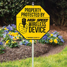 Protected by Wireless Device Guns Warning Garage Bar Home Wall Decor Metal Sign