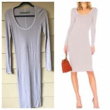 Enza Costa Womens Silk Blend Long Sleeve Ribbed Knee Length Dress Size XS Gray
